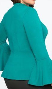 Eloquii Tops - Flare Sleeve Cutout Peplum Top (Green)